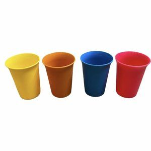 Vtg Tupperware Cups Kids Bright Colours Lot Of 4